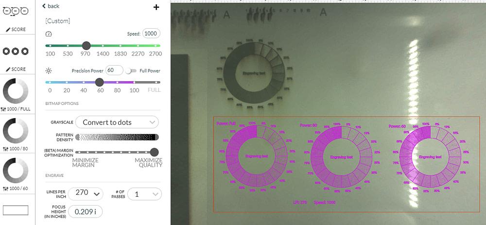 Glowforge Laser Power Level Test Engraving