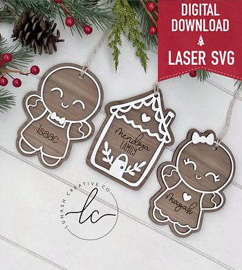 Gingerbread Laser Svg File- Ornament Digital Download