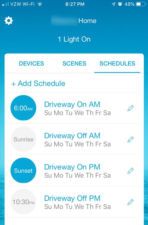 Lutron Caseta Smartphone App - Lighting Schedules