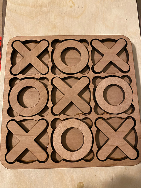 tic tac toe board was made out of real cherry hardwood