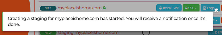 Create Staging Site confirmation message