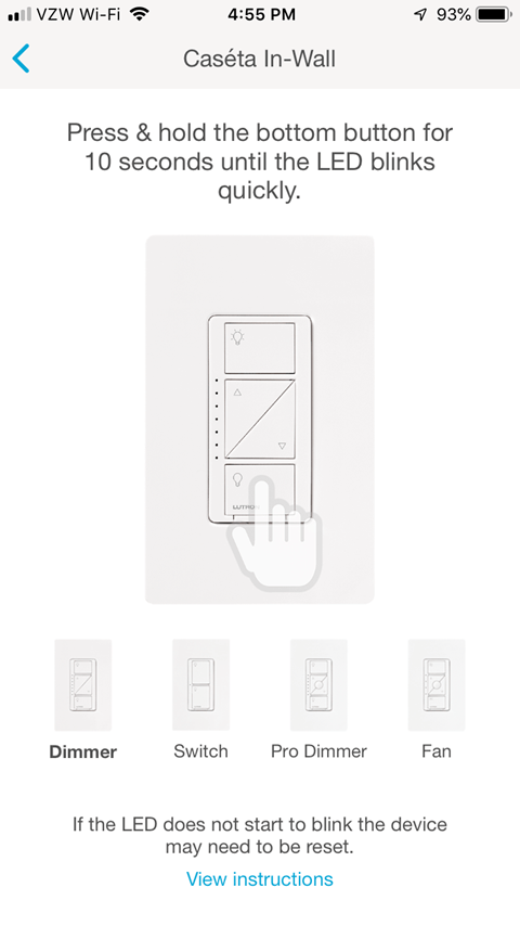 Lutron Caseta App - Caseta In-Wall Pairing Screen