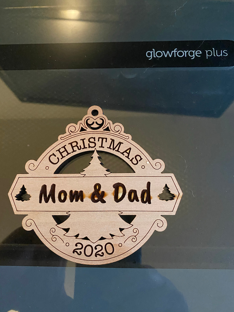 Finished DIY Christmas Ornament - Mom and Dad