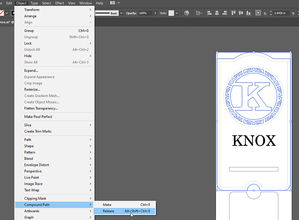 Adobe Illustrator Release Compound Paths