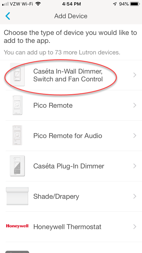 Lutron Caseta App - Add Devices Screen