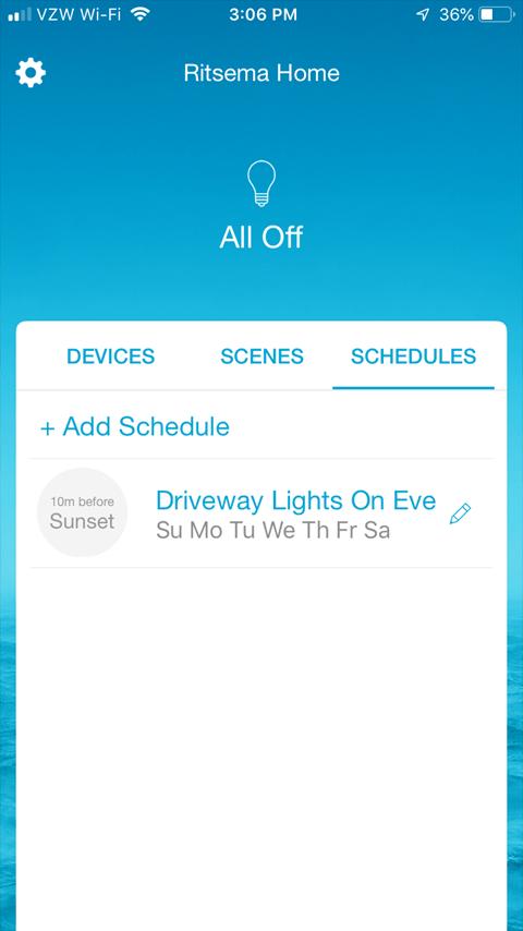 Lutron Caseta Smartphone App - Add Schedule