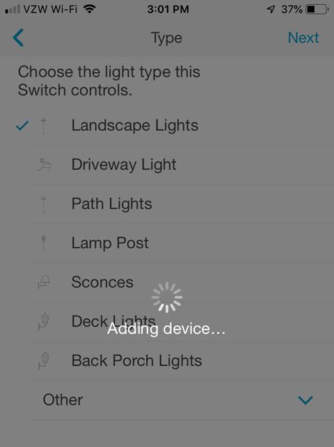 Lutron Caseta Smartphone App - Adding Device processing screen