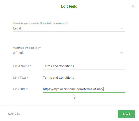 Smart Site setting for Terms and Conditions
