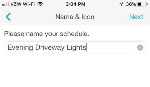 Lutron Caseta Smartphone App - Name your Schedule