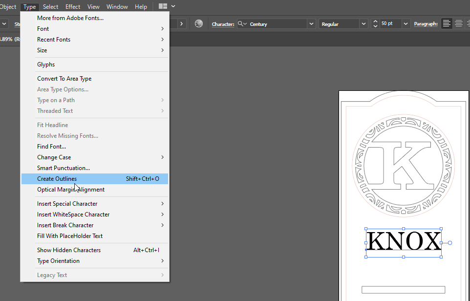 Create Outlines option under the Type menu in Illustrator