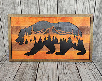 Bear panel, Laser cut files SVG