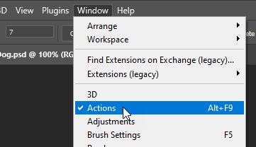 View Photoshop Actions Palette