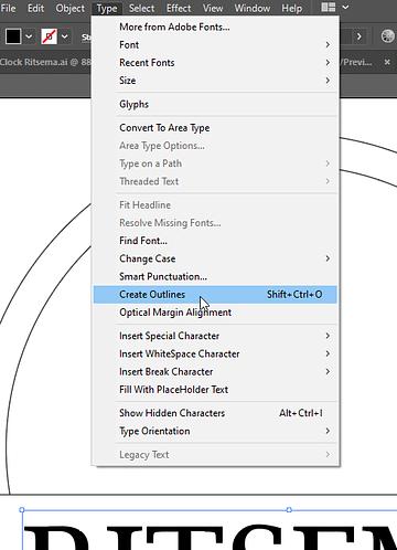 Create Outlines Option in Adobe Illustrator