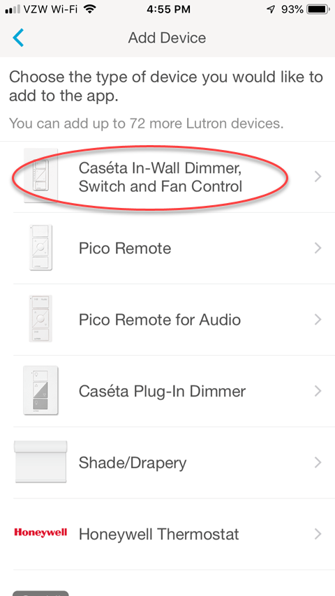 Lutron Caseta App - Add Device Screen
