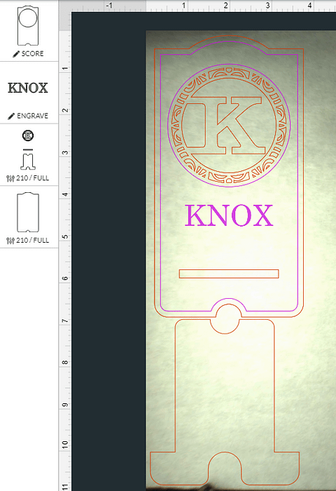 imported the SVG file for the cell stand design into the Glowforge app