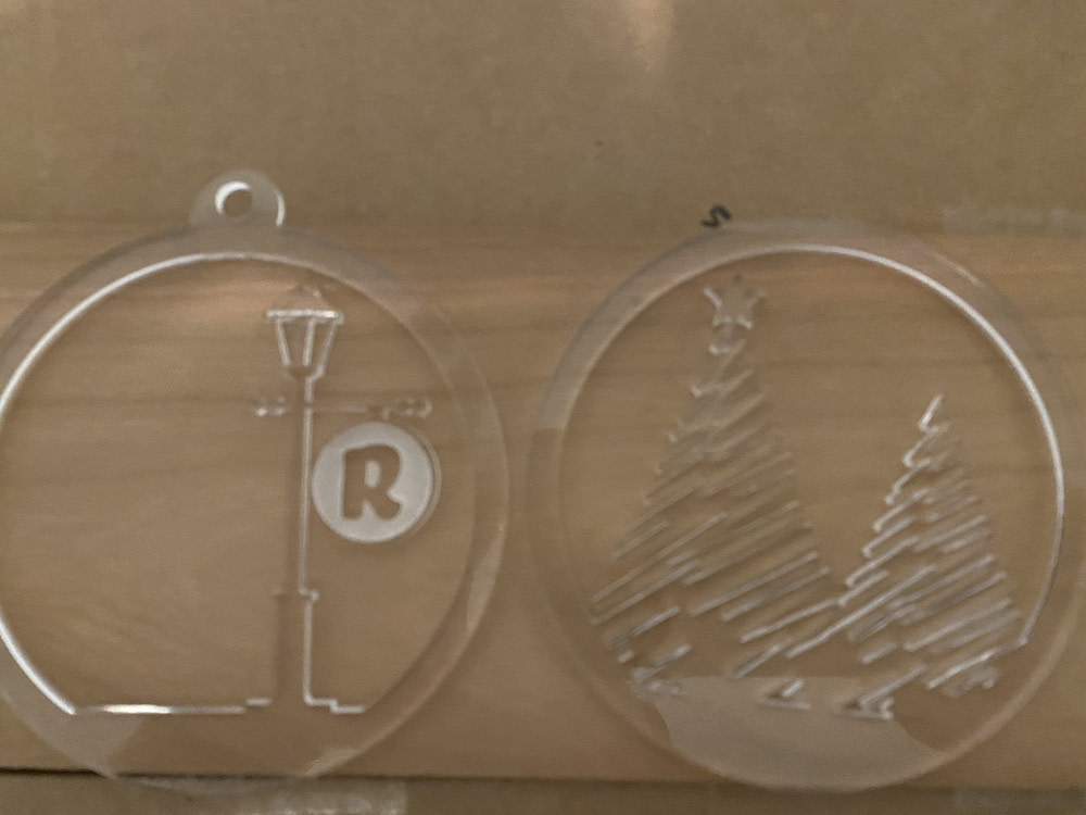 Laser Cut Christmas Ornament with Lamp Post