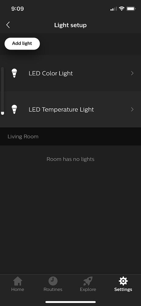 Hue App find LED Strip Light Renamed