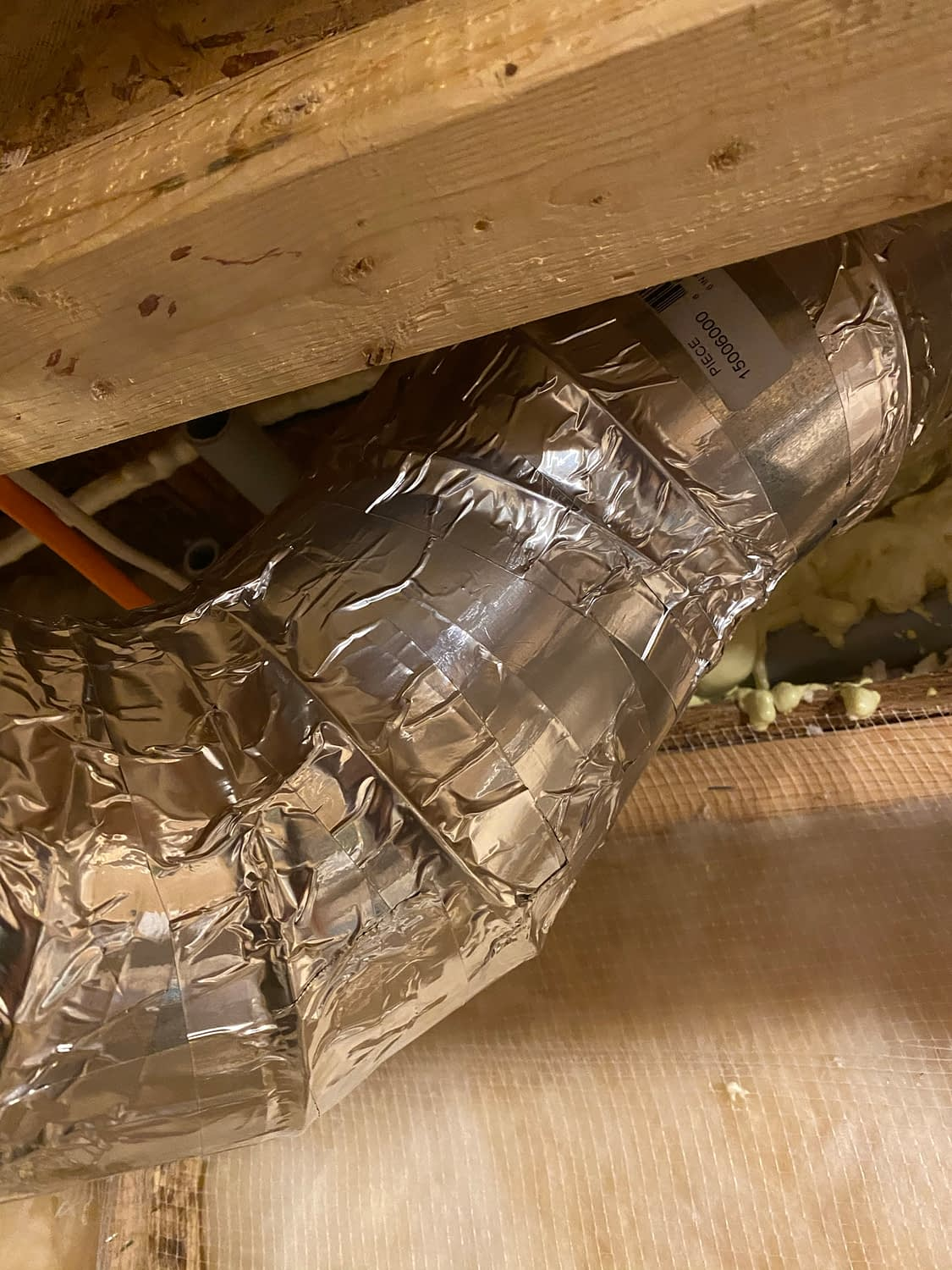 6-inch steel duct with Aluminum tape
