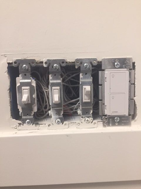 4-Gang electrical switch box with switches installed