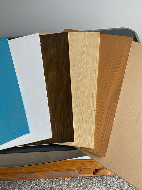 Colored plywood panels ready for the Glowforge laser