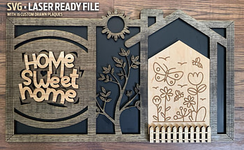 Home Sweet Home Interchangeable Sign - DIGITAL FILE - SVG - Comes with 16 custom drawings - Glowforge