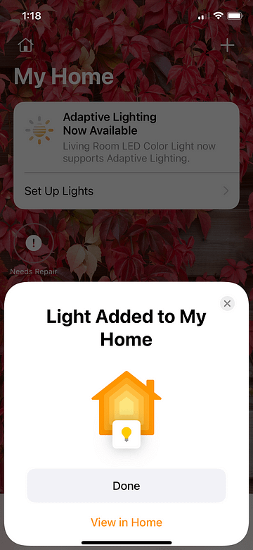Adding the 3D Shadow Box to the HomeKit My Home app is now completed