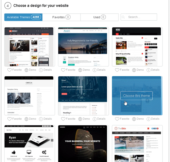 SiteManager - Choose a design for your website