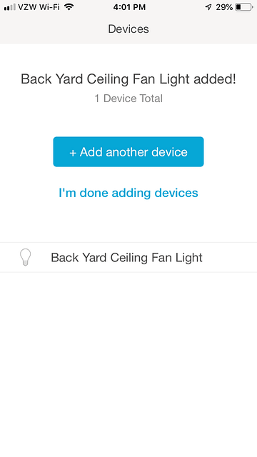 Devices Confirmation Screen