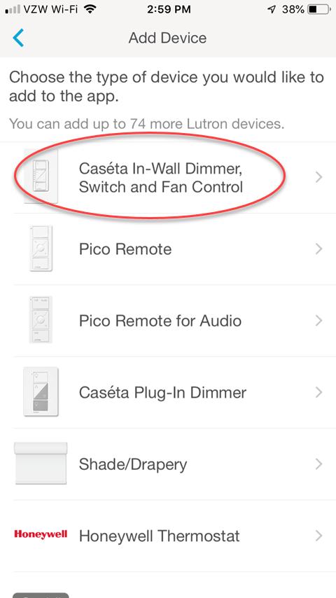 Lutron Caseta Smartphone App - Add Device