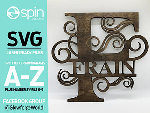 Split Letter Monograms Swirls - ALPHABET - 26 Letters - Digital Laser Cut file - Glowforge - SVG files