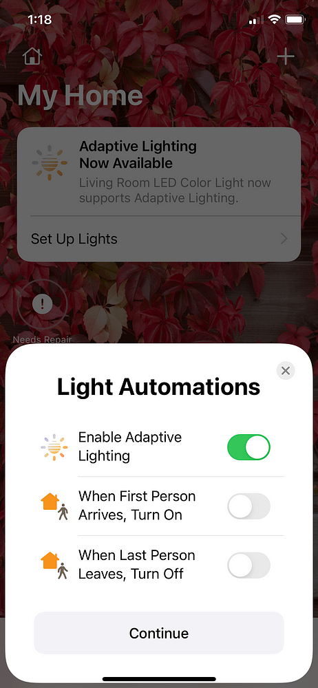 LED Strip Light Project Connecting Homebridge to My Home Enable Adaptive Lighting