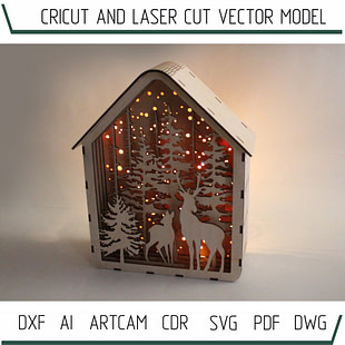 DXF files for laser Light box Deers in the forest, svg Files, 3D laser printer Glowforge, Cricut, Silhouette Cameo, Plywood or MDF 3.2 mm