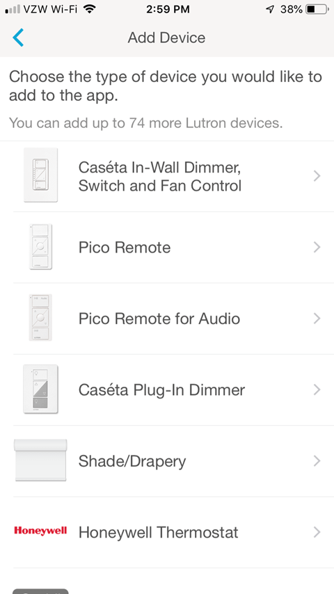 Lutron Caseta App Install on iPhone - Choose the type of device your would like to add to the app