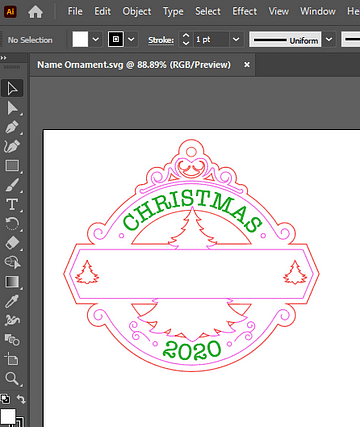 Adobe Illustrator Open DIY Christmas Ornament SVG File