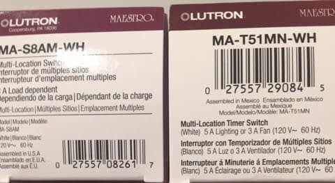 Bathroom Fan and Light Replacement Lutron Timer Switch Part Numbers