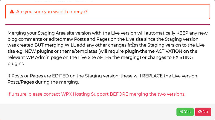 Are you sure your want to merge the staging site into live?