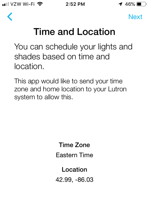 Lutron Caseta App Install on iPhone - Time and Location Confirmation