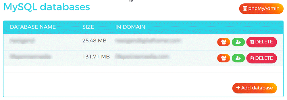 WPX Hosting Management MySQL Databases