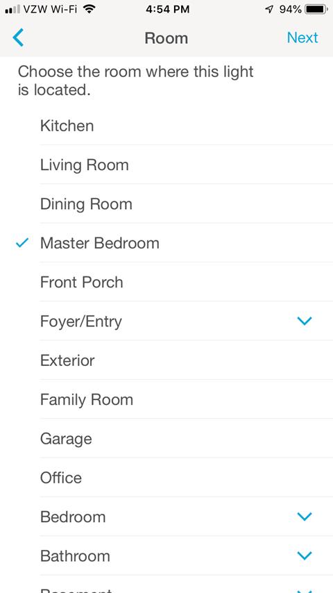 Lutron Caseta App - Room Screen