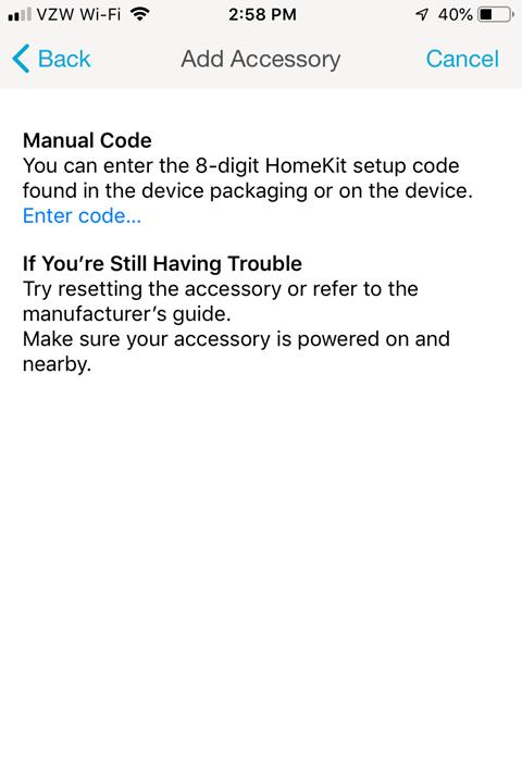 Lutron Caseta App Install on iPhone - Add Accessory Manual Code
