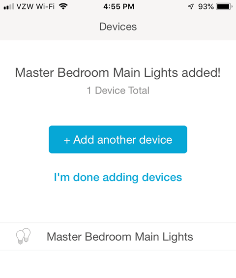 Lutron Caseta App - Device Added Confirmation Screen