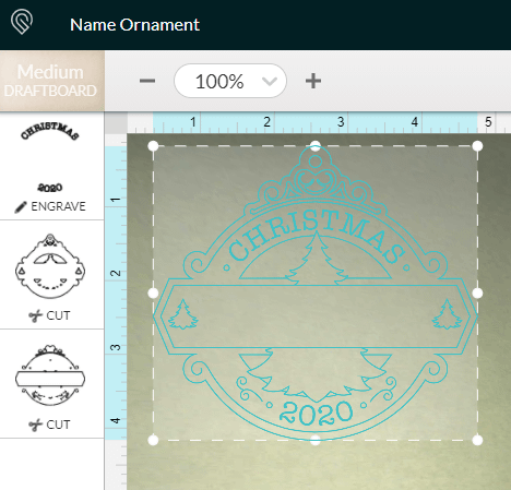 Glowforge App Workspace for the DIY Christmas Ornament