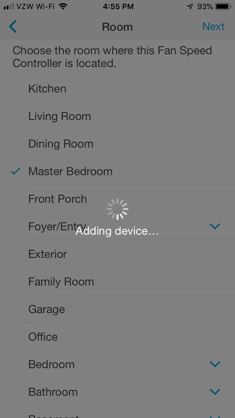 Lutron Caseta App - Adding Device Processing Screen