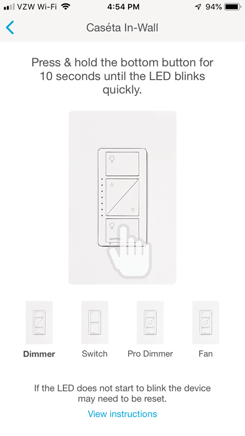 Lutron Caseta App - In-Wall Pairing Screen