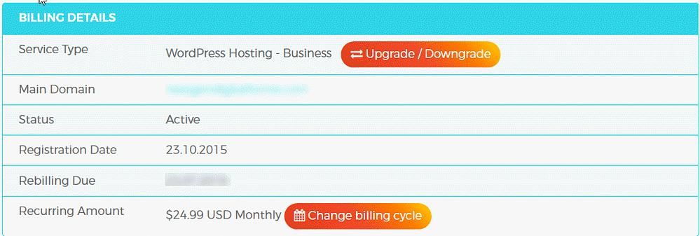 WPX Hosting Management Service Billing Details