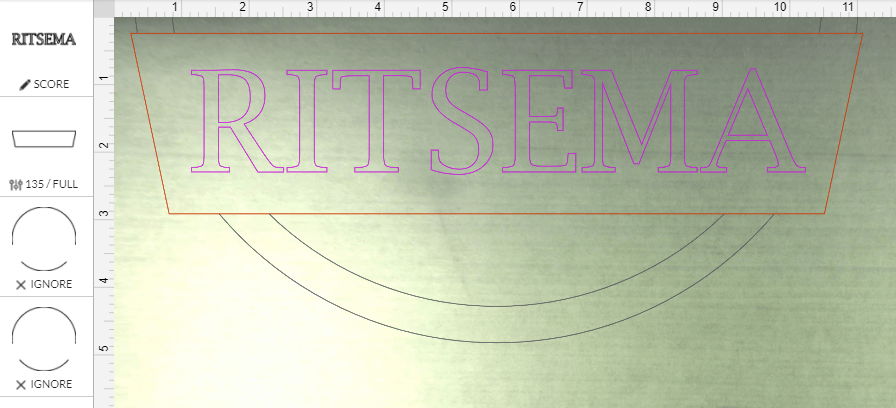 Frame Name layer of sign in Glowforge laser software