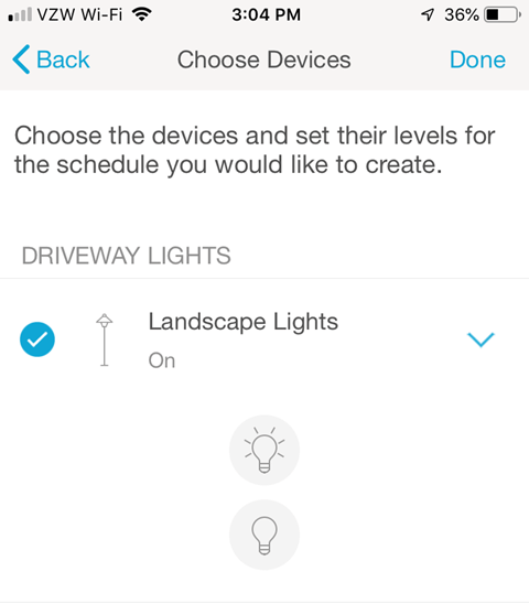 Lutron Caseta Smartphone App - Choose Devices and set their levels