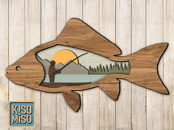 Fishing / Laser cut files/ SVG/ DXF/ Home decor/ Multi-layer file/ Father and son fishing BONUS
