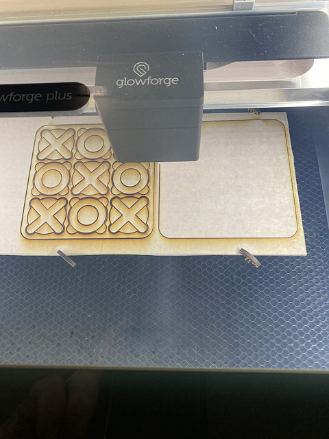 The final laser cut would be the outer edges of both squares