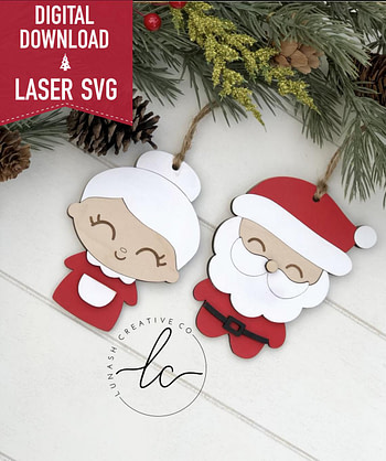 Santa Claus, Mrs. Claus Laser Svg File- Ornament Digital Download